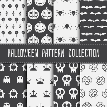 halloween pattern: Halloween pattern collection. Set of seamless background in black and white. Scary halloween elements. Mystic halloween seamless pattern set of pumpkin, skull, ghost, spider, web, candy, bat. Illustration