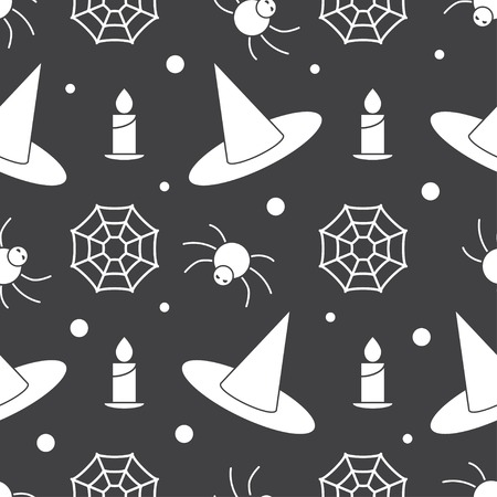 scary story: Halloween pattern background with witch hat, burning candle, web and angry spider. Mystic endless pattern on scary story or horror magic tale concept. Halloween seamless pattern.