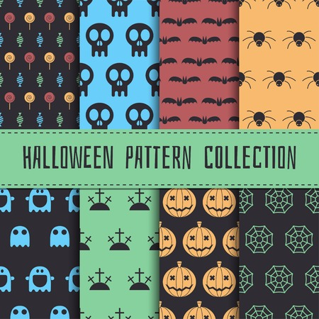 halloween pattern: Halloween pattern collection. Set of seamless background in traditional colors. Scary halloween elements. Mystic halloween seamless pattern set of pumpkin, skull, ghost, spider, web, candy, bat. Illustration