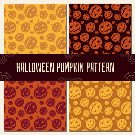 Halloween pattern collection. Set of seamless background in traditional orange colors. Mystic seamless pattern with grin pumpkin.