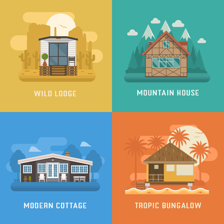 architecture bungalow: Different dwelling set. Modern apartment at rural area, tropic bungalow at beach, mountain chalet house at national park and wild lodge at desert. Vector home poster collection. House booking and rent Illustration