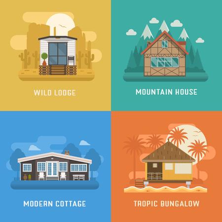 Verschillende woning set. Modern appartement in landelijke omgeving, tropische bungalow op het strand, berg chalet huis op nationaal park en wilde lodge in de woestijn. Vector huis poster collectie. Boek en huur