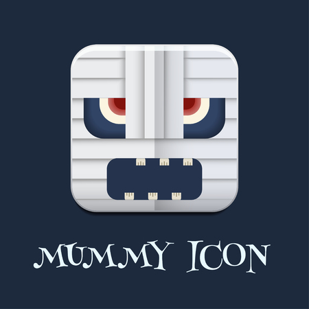evil face: Funny toy mummy evil face square icon. Mad crazy halloween caricature mummy pictogram. Monster creative button.