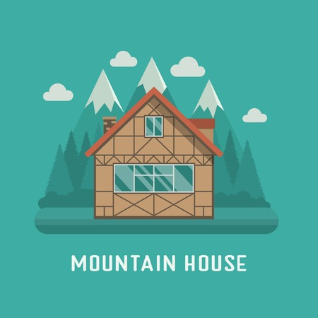 dwelling: Traditional half-timbered cottage at national park area. Mountain chalet building. Family summer house poster. Living or rental country home on mountains landscape. Wooden hut dwelling for booking.