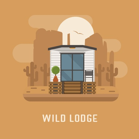 wilderness area: Wild lodge at national park poster. Minimalistic summer house. Modern apartment vector illustration. Scandinavian design home in wilderness area. Europe cabin room exterior. Tourist flophouse image. Illustration