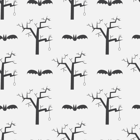 flying bats: Halloween repeating pattern background with flying bats and evil trees. Mystic seamless pattern on scary story or horror tail theme.