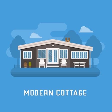 dwelling: Modern cottage in rural area. Family summer house poster. Large apartment building vector illustration. Living or rental country home landscape. Scandinavian design dwelling for booking. Illustration