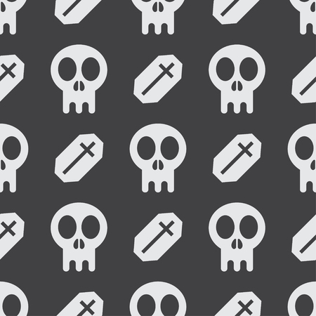 graves: Halloween seamless pattern background with skulls and tomb graves in black and white. Simple child and baby style wallpaper.