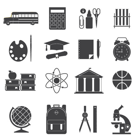 schoolbag: School and education outline icon set. Learning elements silhouette icons. Schoolbag, college building, chalkboard, schoolbus, stationery. Elementary school suppliesand equipment collection. Illustration