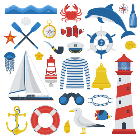 captain cap: Sea travel elements collection. Nautical vector icon set. Marine adventure equipment. Captain cap, lighthouse, dolphin, sailing ship, anchor, seagull, crab, compass and other sea symbols. Marine trip.