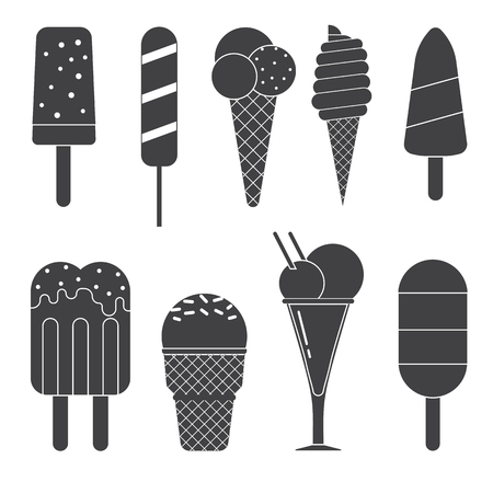 frozen dessert: Different vector sweet frozen ice cream collection. Various outline design ice-cream set. Summer cold ice-creams with fruits and chocolate. Strawberry icecream dessert vector icon isolated on white. Illustration