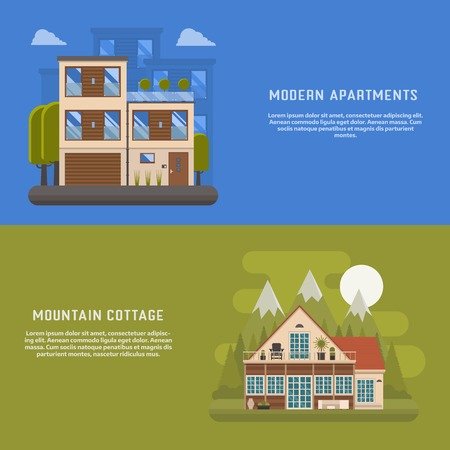 urban area: Scandinavian design house banners for website and internet. Modern home backgrounds. Mountain cottage and urban apartments backdrop templates. Town suburbs building and mountain park area cottage. Illustration