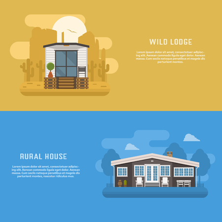 dwelling: Scandinavian design house banners for website and internet. Minimalistic modern home backgrounds. Wild lodge and rural cottage at desert and country landscape. Different dwelling backdrop templates. Illustration