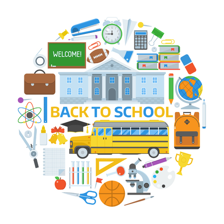 school form: Back to school concept. Basic education elements collection in circle form. Schoolbag, bus, college building, chalkboard, school-bus, stationery. Elementary school year equipment and appliances set.