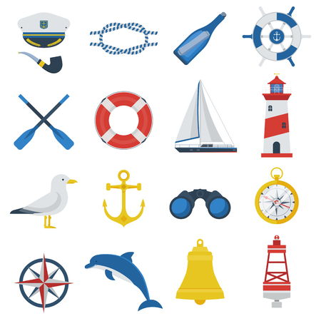 captain cap: Sea travel icon set. Nautical vector elements collection. Marine adventure equipment. Captain cap, lighthouse, dolphin, sail ship, anchor, seagull, crab, compass and other sea symbols. Marine icons.