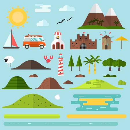 Travel island creator set. Hill, lighthouse, beach objects, surfing bus, church and windmill landmarks. Summer landscape constructor. Signs for map, game, texture. Seaside shore construction elements.
