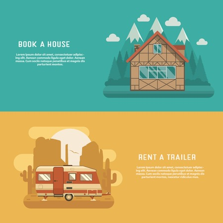 lodge: Different homes set. Mountain lodge at wilderness and Rv camper at wild desert. Traditional alpine chalet and camping trailer banners for website and internet. Caravan and house for booking and rent. Illustration