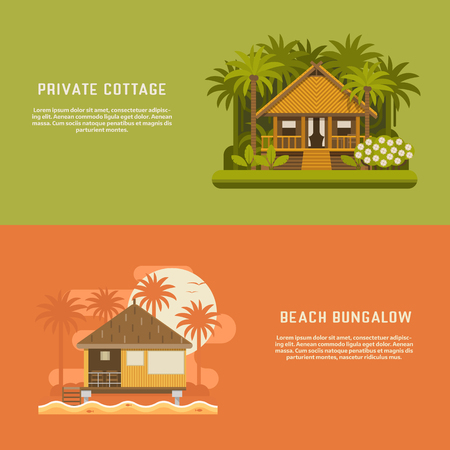 beach hut: Tropic bungalow banners. Wooden house background templates. Jungle straw hut and beach bungalow backdrops for website and internet. Summer holidays concept. South houses for booking, rent or living.