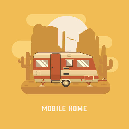RV travel concept. Mobile home on wild desert landscape. Camping trailer caravan on buttes and cactus background. Sunset on national park area. Summer adventure postcard.