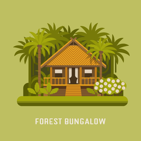 suite: Summer house in tropic jungle. Wooden villa suite among green palms. Romantic forest bungalow or small apartments building for rent or living. Timber cottage vector illustration.