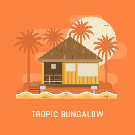 beach hut: Summer beach house by sunset. Wooden villa suite on palms and sea background. Romantic tropic bungalow or small straw hut for rent or living. Summer travel vector illustration. Vacation in paradise.