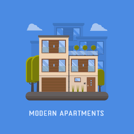 apartment suite: Modern apartments for rent and living in scandinavian design. Two storied city house with garage and green trees. Urban house in europe town scene. Bauhaus family building. Ecological home.