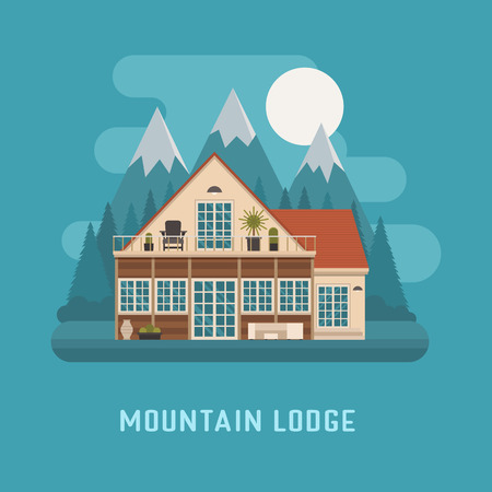 lodge: Mountain lodge by night. Modern scandinavian cottage at highland. Family summer house. Modern apartment building vector illustration. Living or rental rural home at national park area. Mountain chalet Illustration