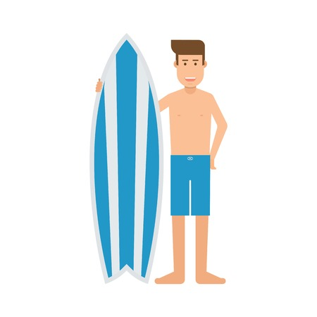 guy standing: Surfer man standing with surf desk. Surfing man with shortboard. Surfer guy character with surfboard vector illustration. Surfboarder young guy with his desk.