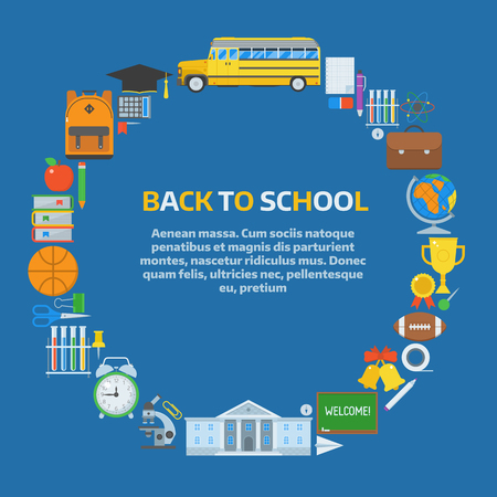 postcard back: Back to school background. Basic education elements concept in circle form with place for text. Elementary school year supplies backdrop. Back to school congratulations postcard or invitation card.