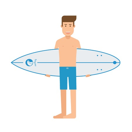 guy standing: Surfer standing with surfboard. Surfing man with shortboard. Surfer guy character with surf desk vector illustration.