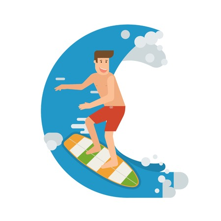 guy standing: Smiling surfer riding on the wave. Smiling surfing man standing on surfboard. Surfer guy character moving on the tide splash. Young water sportsman illustration. Illustration