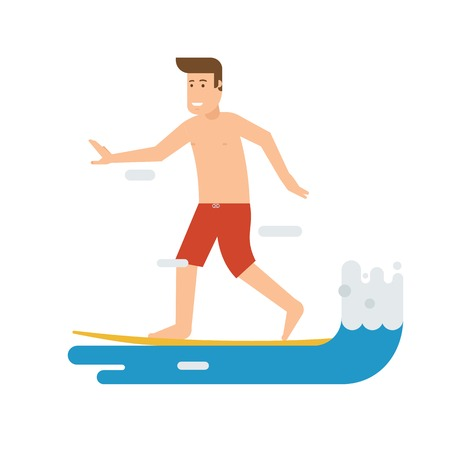 tide: Smiling surfer riding on the wave. Smiling surfing man standing on surfboard. Surfer guy character moving on the tide splash. Young water sportsman illustration. Illustration
