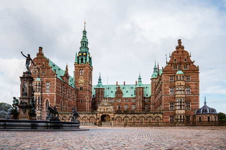 king neptune: Hillerod, Denmark - September, 24th, 2015. Frederiksborg castle is royal residence for King Christian IV in the past and a museum of national history nowadays.