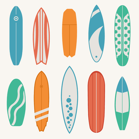 Different surfboard set. Vector various surf desk in flat design. Surfing desks and boards collection. Vintage colors and styles. Surfdesks isolated on white background. Shortboard, longboard and more