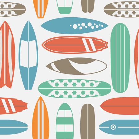 다른 유형 서핑 책상 바다 서핑 패턴입니다. 여름 여행 그림입니다. 레트로 색상 빈티지 서핑 보드와 서핑 배경. 서핑 보드 원활한 배경 개요. 일러스트