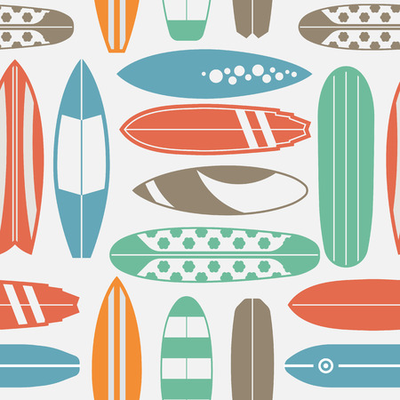 Sea surfing pattern with different type surf desks. Summer travel illustration. Surfing background with vintage surfboards in retro colors. Outline surfboard seamless backdrop. Ilustração