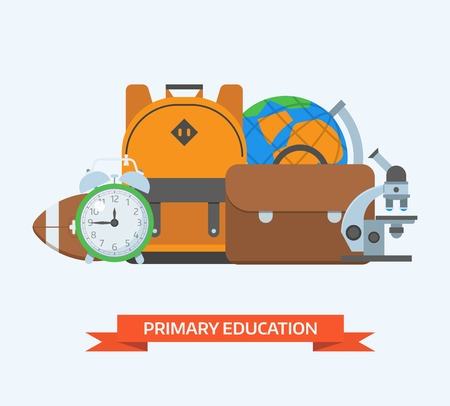 primary education: Primary education background. Basic school elements pile. Schoolbag, alarm clock, microscope, world globe, and rugby ball. Elementary school year equipment and appliances set. Back to school concept.