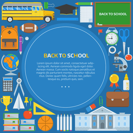 elementary: Back to school background. Basic education elements concept in circle form with place for text. Elementary school year supplies backdrop. Back to school congratulations card or invitation template.
