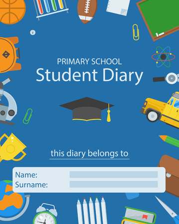 primary education: Primary school diary cover. Back to school concept. Basic education supplies cover layout. Primary education elements backdrop with place for text. Student diary template.
