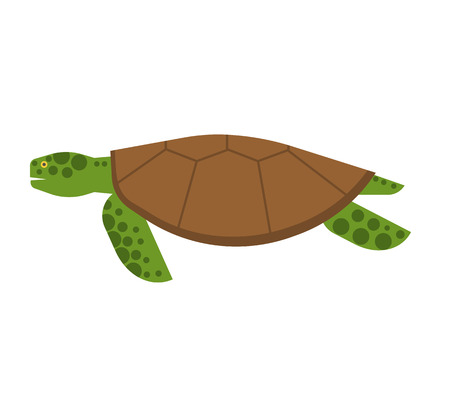 Sea turtle illustration in flat design. Marine animal image. Cartoon turtle vector icon.