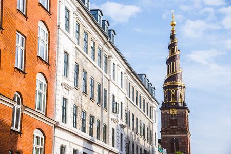saviour: Church of Our Saviour spire and scandinavian houses in Copenhagen, Denmark