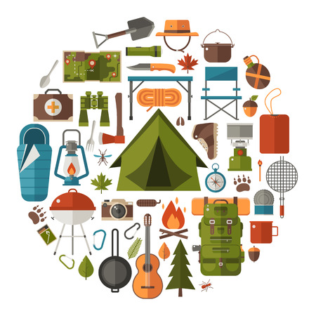 Hiking icons set. Camping equipment vector collection. Binoculars, bowl and barbecue. Tourist lantern, hat and tent. Base camp gear and accessories. Camping icon set. Hike outdoor elements. Ilustração