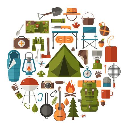 Iconos de senderismo. Equipo de camping vector de recogida. Prismáticos, tazón y barbacoa. linterna turística, sombrero y tienda de campaña. engranaje de campamento base y accesorios. Acampar conjunto de iconos. Caminata elementos al aire libre.