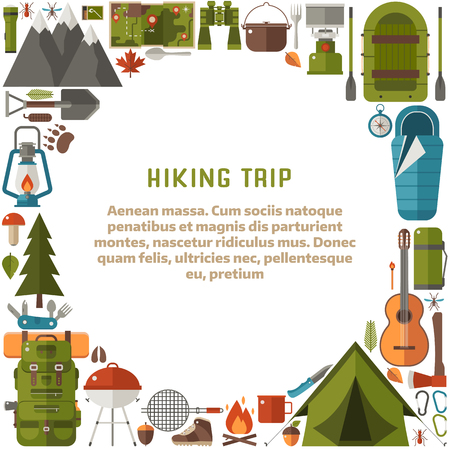 hike: Hiking trip background with camp tools. Forest camping lifestyle backdrop. Mountain hike equipment and gear card template with text place. Tourist tent, campfire, barbecue, flashlight, lantern.