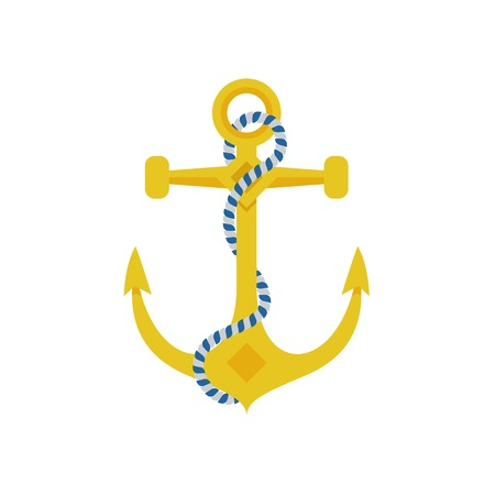 navy pier: Ship anchor vector illustration. Marine icon isolated on white background. Nautical equipment.