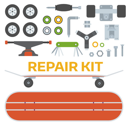 gripping: Skateboard riding repair kit. Skating and skateboarding tools for repairing. Skate boarding repairs equipment. Multi tool, screw-bolt, truck, wheels, screwdriver items pack.