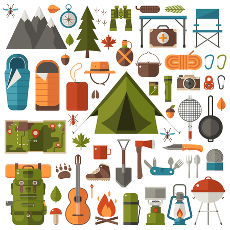 Mountain hike elements. Autumn forest camping set. Hiking equipment and gear vector icon collection. Mountains, tent and lantern. Campfire, barbecue, and flashlight. Tourist camp tools. Illustration