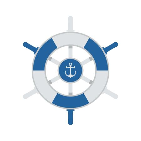 rudder ship: Ship wheel vector illustration. Marine rudder icon isolated on white background. Nautical navigation equipment.