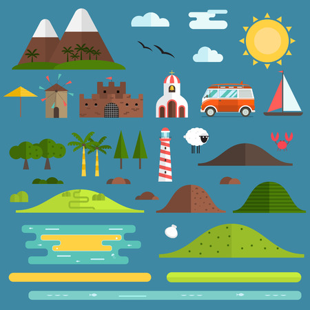 creator: Travel island constructor. Hill, lighthouse, beach objects, surfing bus, church and windmill landmarks. Summer landscape creator set. Signs for map, game, texture. Seaside shore construction elements. Illustration