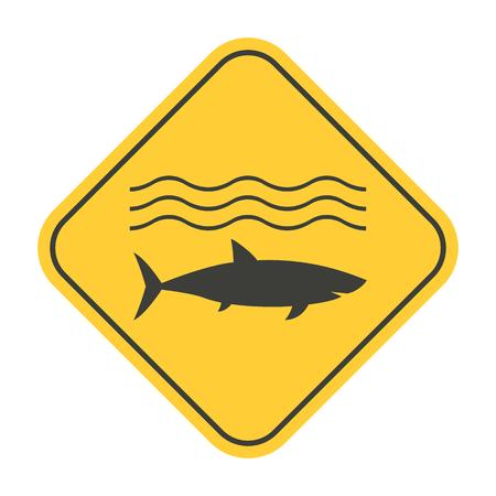 predator: Shark danger caution sign vector illustration. Sea predator warning symbol.